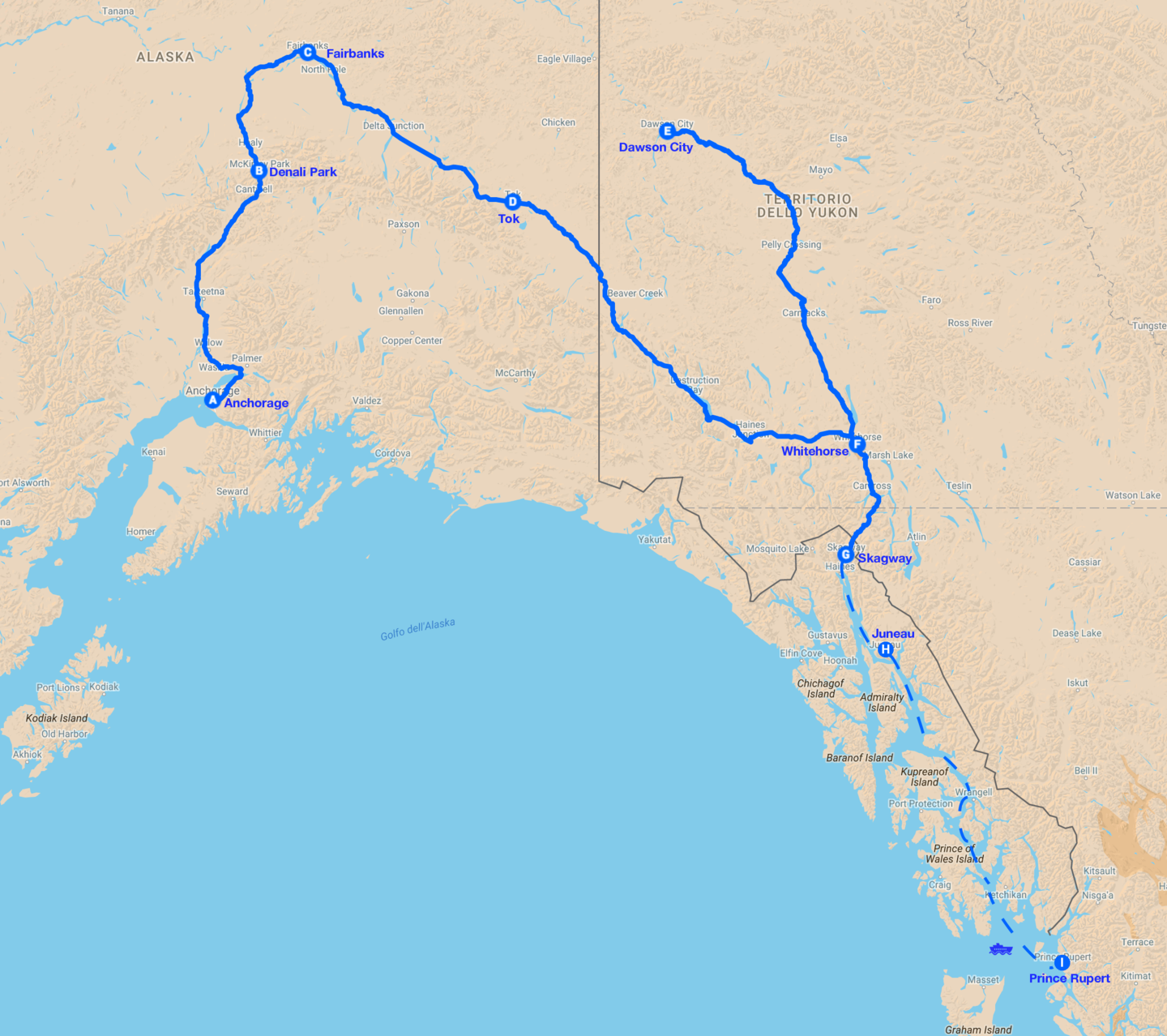 Gran tour alaska yukon map
